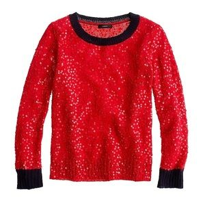 J. Crew red sequin sweater with blue trim
